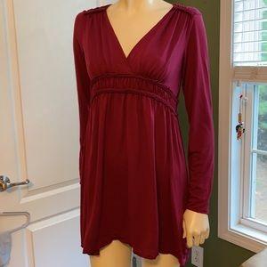 Max Edition Burgundy Mini Dress / Tunic Top Sz L